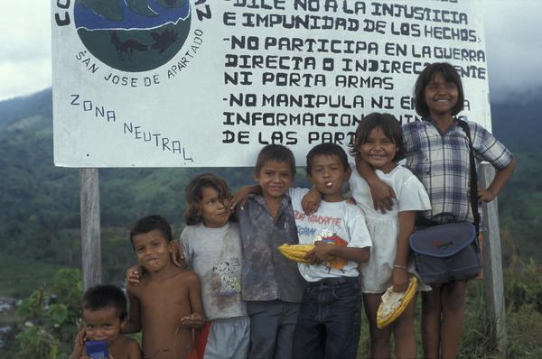 Children of the peace community San José de Apartadó, Colombia. In March 1997 the community declared itself a peace community and demanded that all parties to the conflict respect the lives of the civilian population and their right not to be drawn into the conflict.